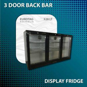EUROTAG 328LT 3 DOOR UNDER BENCH BACK BAR DISPLAY FRIDGE 1 Years Warranty