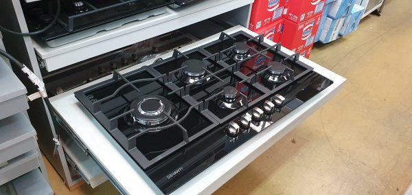 Devanti Gas Cooktop 90cm 5 Burner Ceramic Glass Stove Hob Cooker NG LPG Black