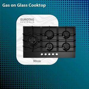 EUROTAG 90cm 5 burner black tempered glass gas cooktop - WHG958BC